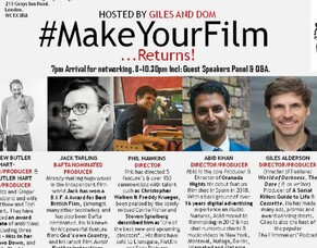 Indie Filmmakers Giles Alderson & Dom Lenoir To Host #MakeYourFilm Panel Event.