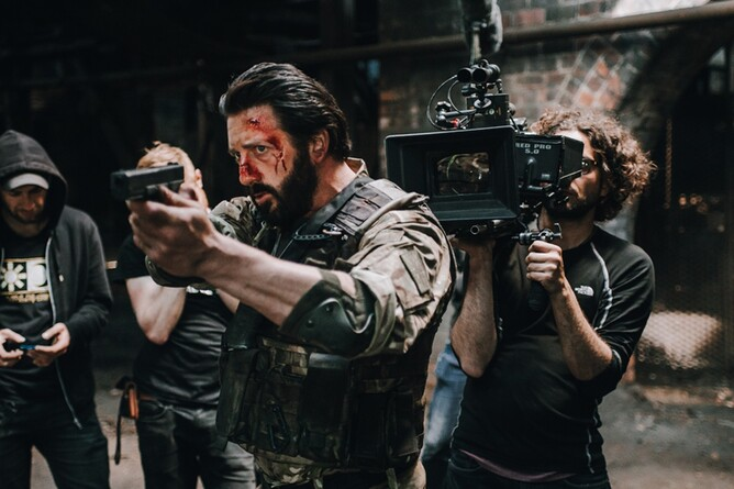 Behind the scenes of zombie Action movie REDCON-1