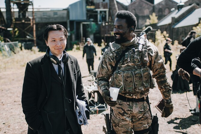 Chee Keong Cheung & Oris Erhuero on the set of REDCON-1